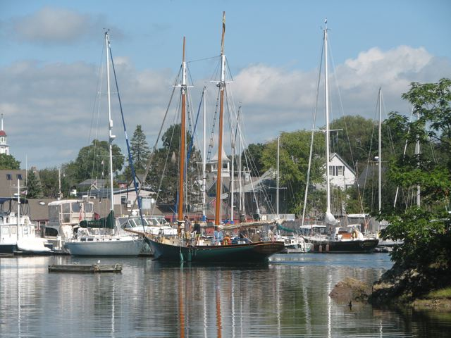 A sneak peek toward Kennebunkport's Dock Square from the Franciscan Monastery grounds.