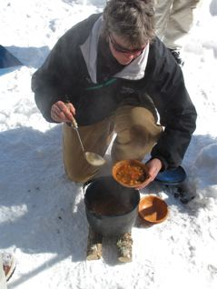 Lunch! Hearty soup cooked over an open fire, bagels for toasting, snack mixes, cookies, yum.
