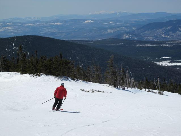 Nancy on Timberline; Mt. Washington and Sunday River in background