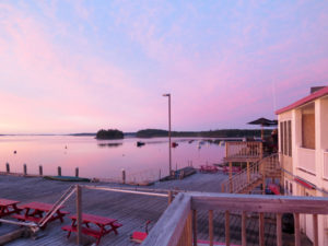 Sunsets and sunrises are dreamy when viewed from the Inn on the Wharf, one of my favorite cheap sleeps in Lubec. ©Hilary Nangle