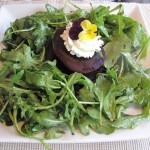 The fixed price menu at 10 Tables at the Bass Cottage Inn, in Bar Harbor, Maine, includes a choice of starters, such as this roasted beet salad. Hilary Nangle photo.
