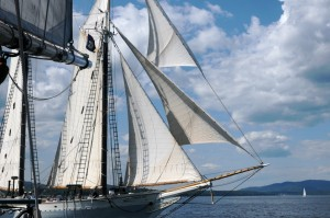 Sailing aboard the Lewis R. French during the Parade of Sail provided an excellent vantage point. Tom Nangle photo.