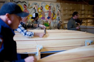 Grain Surfboards of York, Maine, has almost a cult-like following for its handmade wooden surfboards, and you can build your own in a Grain workshop. Courtesy photo.