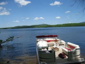 Learn about the towns lost when Flagstaff Lake was created on a pontoon boat tour of the lake, then spend two nights at Maine Huts and Trails Flagstaff Hut. Photo courtesy Maine Huts & Trails.