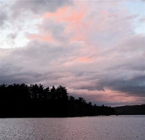 After dinner, settle in to watch the sunset over Maine's Belgrade Lakes. Hilary Nangle photo.