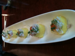 The Ceviche Miyake-style roll is reason enough to dine at Miyake, in Portland, Maine. Hilary Nangle photo.