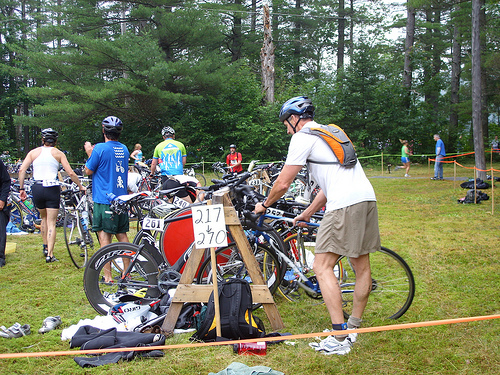 Cyclists pedal 24k as part of the Maine State Triathlon, in Bethel