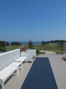 The truly oceanfront Samost Resort edges Penobscot Bay, with views to Vinalhaven and North Haven islands as well as out to the adjacent Rockland, Maine, breakwater. Hilary Nangle photo.