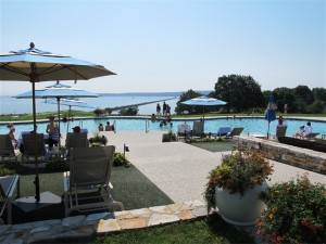 It would be easy to spend the day at the Samoset Resort's pool, enjoying a light lunch at the Splash Bar and perhaps playing games on the adjacent lawn. Hilary Nangle photo.