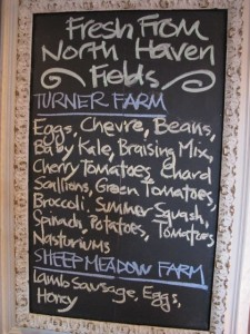 North Haven Island produce and meats are featured at the Nebo Lodge Restaurant on North Haven Island. Hilary Nangle photo.