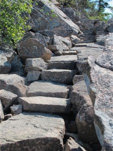 Step your way to the bald summit ledges of Huguenot Head in Acadia National Park on the Beachcroft Trail. Hilry Nangle photo.