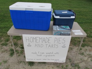 When we arrived in late afternoon, the pies were gone but there were some blueberry brownies. Hilary Nangle photo.