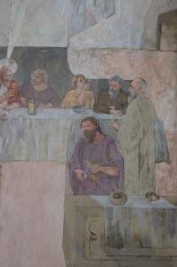 Juried artists frescoed the scenes on the South Solon Meeting House walls and celing in the mid 1950s. Tom Nangle photo
