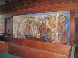 Walk all around the meeting house to view all the frescoes from different angles. Hilary Nangle photo