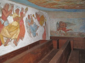 Be sure to visit the choir loft of the South Solon Meeting House to see the frescoes painted on those walls and for a closer view of the ceiling. Hilary Nangle photo.