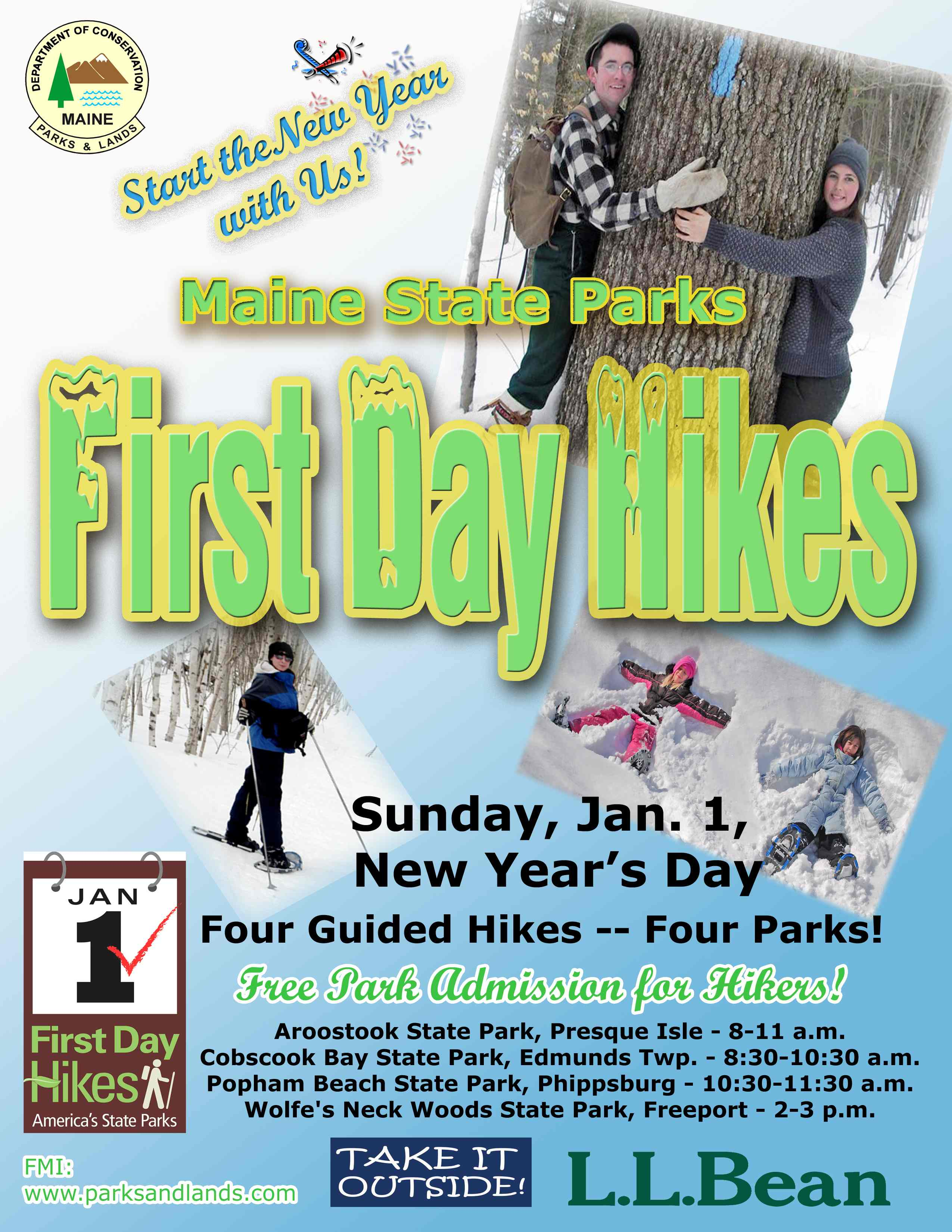 Take a free guided hike in one of Maine's state parks on New Year's Day