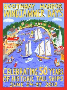 Windjammer Days celebrates 50 years in Boothbay Harbor, Maine. This 2012 poster designed by Pat Berger.
