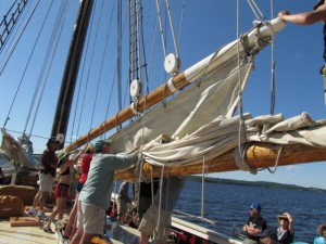 Although Sheila Grant says she helped raise and lower sails aboard the schooner Mary Day, it appears she was taking photos at the time (grin). Sheila Grant photo.