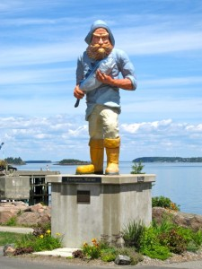 This stature was added to the waterfront of Eastport, MAine, during the a movie filming. Hilary Nangle photo.