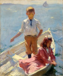 Frank W. Benson, George and Betty in a Dory (Study for Calm Morning), 1904, Oil on canvas, 24 x 19 ¾ inches, Anonymous loan