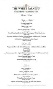 The menu for the White Barn Inn Bistro, open through March 31, 2013