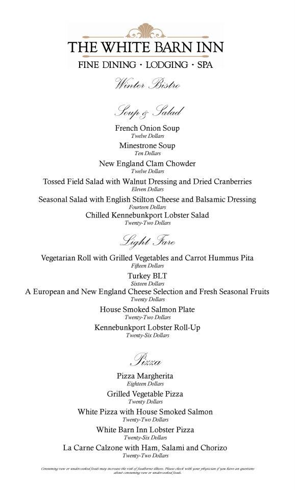 The menu for the White Barn Inn Bistro, open through March 31, 2013