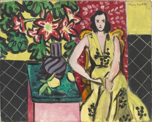 Henri Matisse, Seated Woman with a Vase of Narcissus, 1941, oil on canvas, 13 x 16 1/8 inches. The William S. Paley Collection.