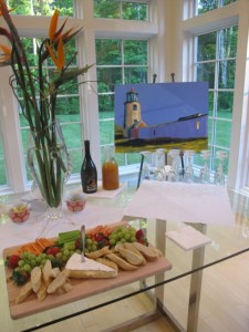 Art of Dining Art Collector Maine dinner at the Leonardi Residence highlighting works by Janis Sanders. Hilary Nangle photo