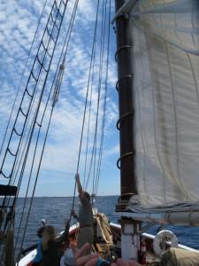 Raising sails aboard the Riggin. Hilary Nangle photo