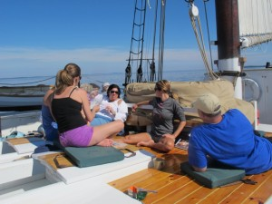 Guests relaxing aboard the Riggin. Hilary Nangle photo