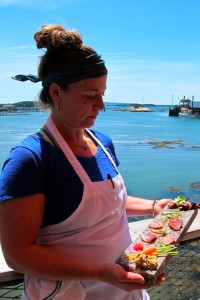 Chef Devin Finigan on the deck of Aragosta, in Stoninton. Hilary Nangle photo IMG_2798