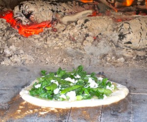 Pizza in the outdoor oven at Seal Cove Farm. Hilary Nangle photo. IMG_3731