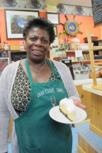 Frances, with a slice of her to-die-for key lime pie at Quiet Side Cafe, Southwest Harbor. Hilary Nangle photo. IMG_2927