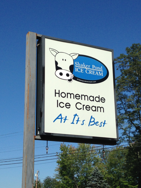 In southwestern Maine, get homemade ice cream at Shaker Pond Ice Cream in Alfred or Sanford. ©Hilary Nangle IMG_4198