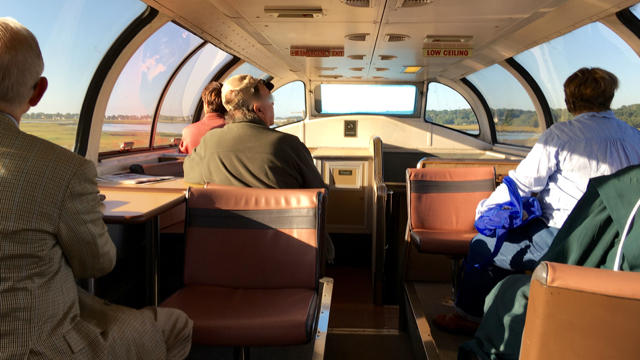 The dome car delivers fine views from the Amtrak Downeaster. ©Hilary Nangle