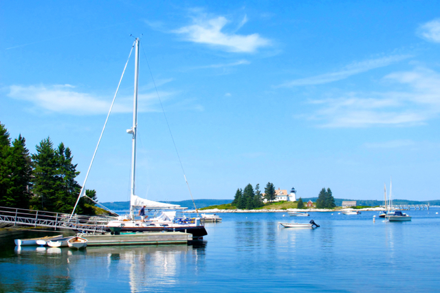The easiest view of Pumpkin Island Light is from the east end of Little Deer Isle. ©Hilary Nangle