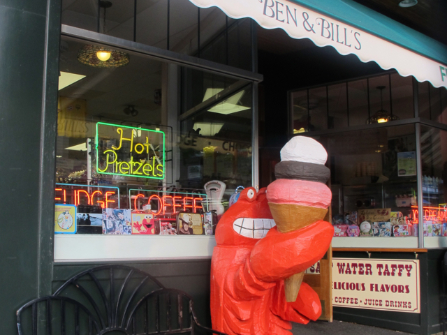Candy-maker Ben & Bill's in Bar Harbor serves its own Maine-made ice cream flavored with its own candies. ©hilary nangle
