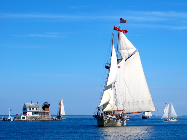 Sail aboard a Maine windjammer for an adventuous Maine vacation. ©Hilary Nangle