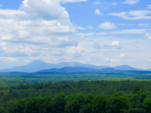 Katahdin dominates the landscape from one of the pullouts along the Katahdin Woods & Waters Scenic Byway. ©Hilary Nangle