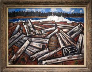 The Ambajejus Boom House recalls the era depicted in Marsden Hartley's Log Jam, Penobscot Bay, 1940-41, oil on hardboard (massonite).