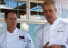 Chefs Mark Gaier & Clark Frasier on the oceanfront deck of MC Perkins Cove in Ogunquit. ©Hilary Nangle