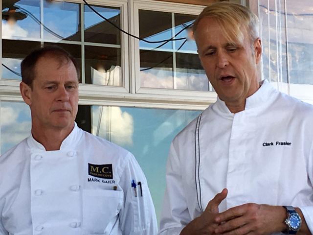 Chefs Mark Gaier & Clark Frasier on the oceanfront deck of MC Perkins Cove in Ogunquit. ©Hilary Nangle