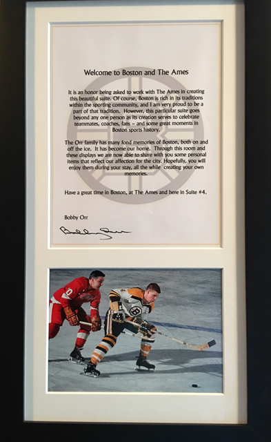 Items from Bobby Orr's personal collection fill his namesake suite at the Ames Boston Hotel. ©Hilary Nangle