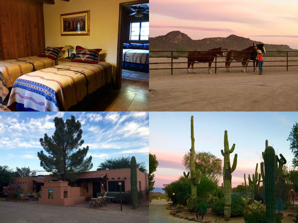 You can roll out of bed and greet the horses or savor the desert sunset at White Stallion Ranch. ©Hilary Nangle