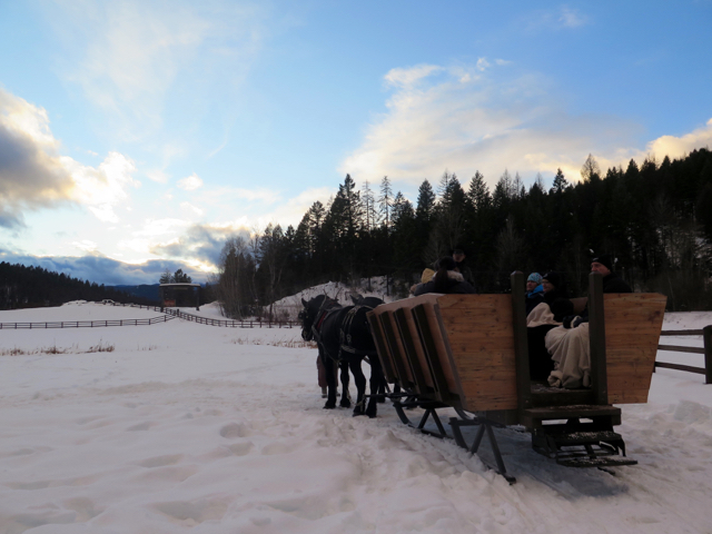 In winter, the Bar W Guest Ranch offers sleigh rides as well as B&B lodging. ©Hilary Nangle