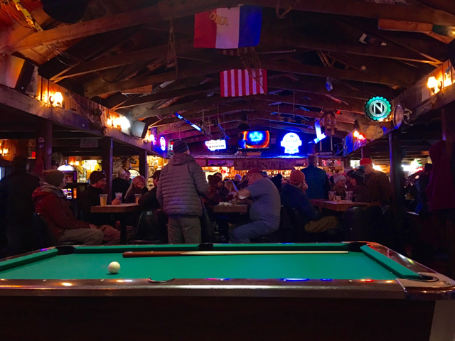 Why Whitefish? Two classic ski bars. At The Bierstube, shoot pool and catch up with locals. ©Hilary Nangle