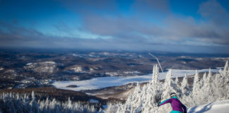 Excellent grooming makes cruising Tremblant's trails even more fun. ©Nathalie Royer/Tremblant Resort Association.