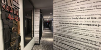 The Press Hotel in Portland, Maine, is decorated with a newspaper theme honoring the building's former life as home to the state's largest paper. ©Hilary Nangle