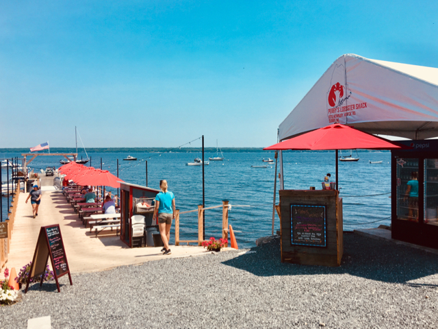 Perry's Lobster Shack pairs lobster fare with views over East Blue Hill Bay's waters to Mount Desert Island's rounded peaks. ©Hilary nangle